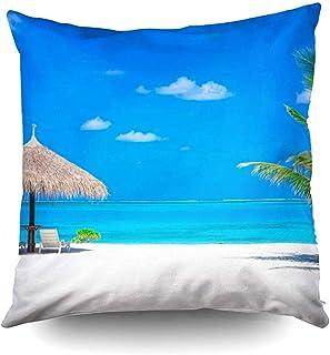 Ducan Lincoln Pillow Case 2PC 18X18,Funda De Almohada De Tiro Cuadrado Cubiertas Playa Tropical Blanca En Palmeras Laguna Azul Pocos Pascua Ambos Lados Imprimir Zip Fundas De Almohada Cojín