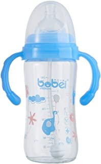 邦贝小象 宝宝婴儿奶瓶玻璃宽口?#19981;?多色玻璃奶瓶150ml 240ml防胀气玻璃奶瓶新生儿 (150毫升, 蓝色)