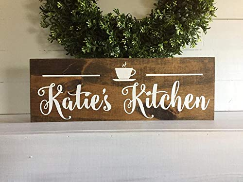 DKISEE Kitchen Gift Personalized - Coffee Wall Decor - Gift for Cook - Coffee Cup Art - Sign with Name - Wood Sign for Kitchen - Farmhouse Decor 9.8x15.0 inch