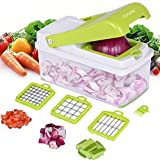 Vegetable Chopper, Adoric Food Slicer Dicer, 3 Interchangeable Blades Set with Food Container & Cleaning Brush for Potato Tomato Onion Salad Fruit