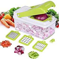 【MULTIPURPOSE FOOD CHOPPER】3 in 1 vegetable cutter helps you to prepare food with good mood. 3 interchangeable blades fit for cutting potatoes, tomatoes, cucumbers, apple, etc. 【FOOD-GRADE MATERIAL】BPA FREE and LFGB certified. Made of food-grade ABS ...