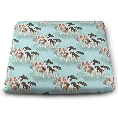 Soft Square Seat Cushion- Comfortable Memory Foam Chair Mat Pads for Home/Dining/Office/Living/Room/Floors- 15'' x 13.7'- How Many Horses