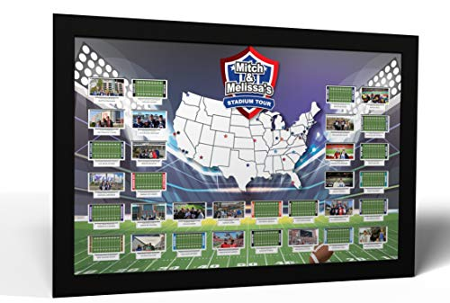 Thunder Bunny Labs Personalized Football Stadiums Photo Map - Made in America (Black Frame)