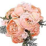 StarLifey Bouquet de Fleurs Artificielles de Pivoine Fleurs en Soie Décoration de Maison (Orange)