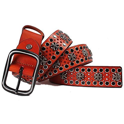 Yishelle-Belt Cinturón de Cuero Tachonado Ancho Remache de Plata Hebilla de Cuero Punk Jeans cinturón Unisex Casual Cowboy Belts para Jeans (Color : Rojo, tamaño : Free Size)