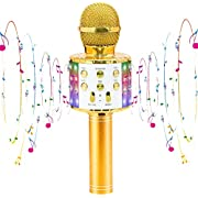 CYY Wireless Karaoke Microphone Toys for 3-12 Years Old Kids, Portable Bluetooth Microphone Speaker with LED Lights,Gifts for Boys Girls Age 5-13 or Adults Birthday Party or Christmas (Gold)