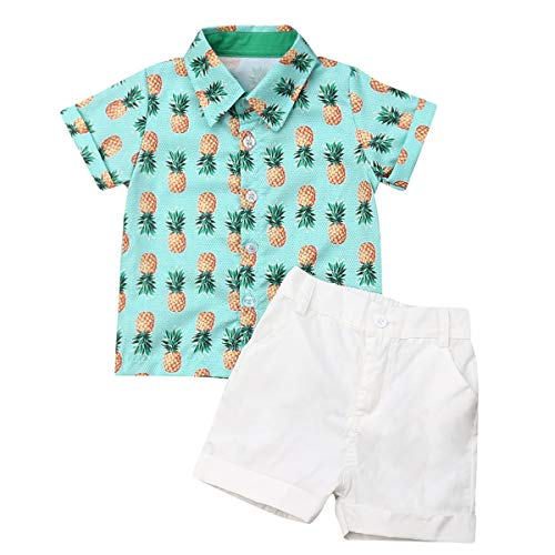 Toddler Baby Boy Summer Outfits Set Gentleman Button-Down Short Sleeve Shirt Blouse Tops + Solid Shorts Pants (Pineapple t-Shirt + White Shorts, 4-5 T)