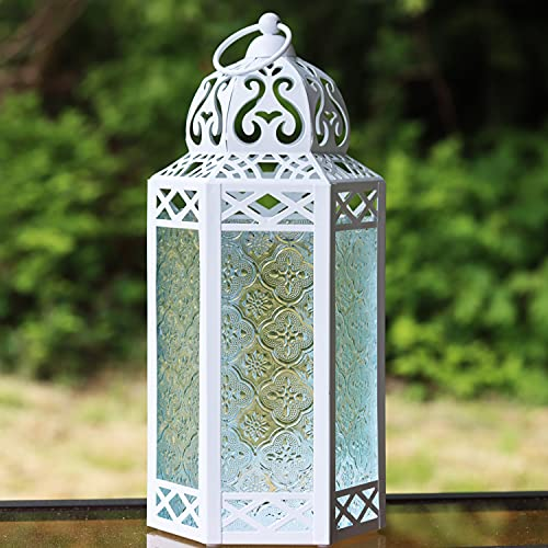 Vela Lanterns Decorative Candle Lantern Holders - Fairy Lights Included, White, Clear Glass, Large