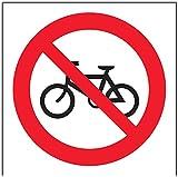 Letrero con logo de prohibición, autoadhesivo, no se permiten bicicletas, cuadrado, 100mm x 100mm, color negro y rojo VSafety 51014AF-R
