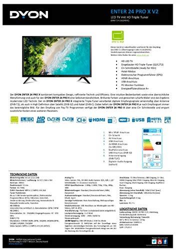 DYON Enter 24 Pro-X 60 cm (24 Zoll) Fernseher (Triple Tuner (DVB-C/-S2/-T2), Hotelmodus, PC-Monitor-Anschluss) [Modelljahr 2020]