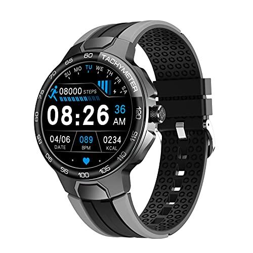 LIEBIG Smartwatch Herren, Uhren mit Schrittzähler IP68 Wasserdicht fitnessuhr mit Pulsuhr Blutdruckmessgerät Schlafmonitor Armbanduhr für Android iOS(grau)