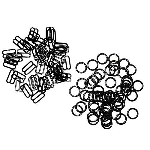 Hellery 200pcs 10mm Metal Bra Strap Adjuster O Rings And Fig 8 for Lingerie Underwear