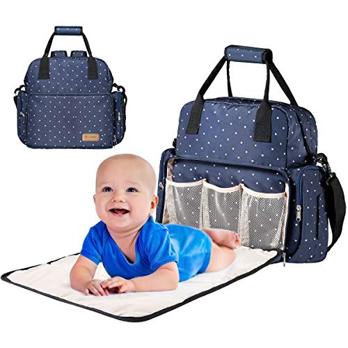 """Monlovage Adjustable Diaper Bag Backpack, Travel Backpack Nappy Bags, Large Blue Size: 17.1""""H*13.5""""L*4.5""""W"""