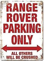 レンジローバー駐車場ホワイトメタルの壁サイン