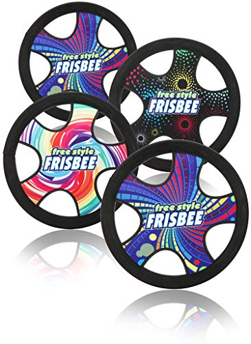 com-four® 4X Freestyle Frisbee für Kinder und Erwachsene - leichte Wurfscheibe - wasserfeste Frisbeescheibe - 30 cm Flugscheibe [Auswahl variiert] (4 Stück - bunt)