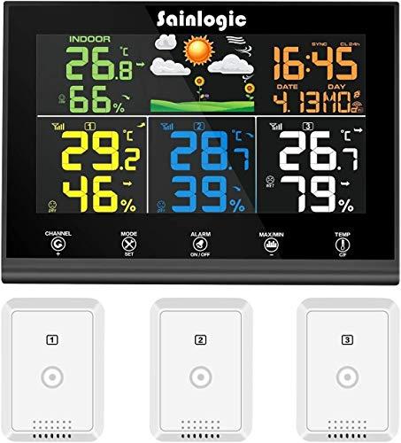 sainlogic Wetterstation mit 3, Wettervorhersage, Farbdisplay, Funk Thermometer Hy-grometer mit Außensensor, Gray