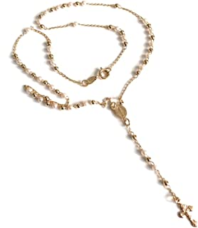 Rosary Beads Catholic Simulated Pearl Cross Necklace 18k Gold Plated Rosario Virgen de La Milagrosa