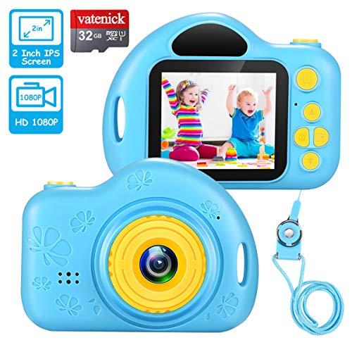 Kinder Digital Kamera Spielzeug Kleinkind Kamera Geschenke Videorecorder Stoßfest 2 Zoll HD-Bildschirm 1080P mit 32 GB TF-Karte Geburtstag Geschenke Spielzeug für 3 bis 12 Jahre alte Jungen (Blau) …