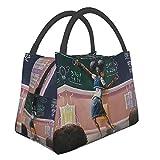 Zordalating African American Student Art Men Women Bag Tote Lunch Storage Small Handbag,Shopping Office/School/Picnic/Travel/Camping