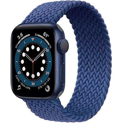 Preisvergleich Produktbild Daihook Dehnbare Verflochtenen Ersatzband Kompatibel mit Apple Watch Armband 42mm 44mm,  Geflochtenes Solo Loop kompatibel mit Apple Watch Serie 5 / 4 / 3 / 2 / 1 / 6 / SE-Blau Nr.7(164mm-171mm Handgelenk)