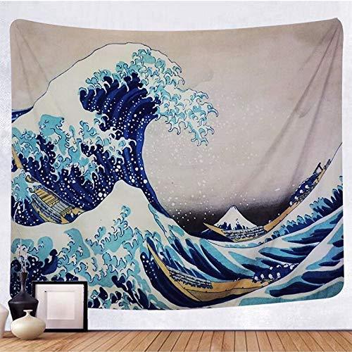 WERT Tapiz para Colgar en la Pared, Tapiz de Pared Kanagawa de Olas Grandes y Arte, Decoraciones Naturales para el hogar, Tapiz para Sala de Estar, A1 180x200cm