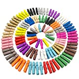 (Pack of 128) JABINCO Mini Wooden Colored clothespins,16 coloers Each 8pcs