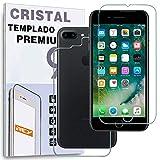 REY Protector de Pantalla Delantero + Trasero para iPhone 7 Plus/iPhone 8 Plus, Cristal Vidrio Templado Premium