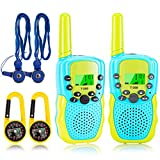 FunsLane Kids Walkie Talkie aggiunge Compass Strap, Christmas Toys 3KM Long Range 8 Channel with LCD Flashlight for Outside Adventures, 3-12 Year Old Boys Girls Kids Christmas Christmas Gifts (2 Pack)