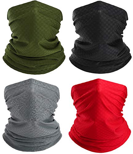 YOSUNPING Neck Gaiter Face Mask for Men Women - Sun UV Dust Protection Breathable Balaclava Wind Bandana for Fishing Cycling Running Hiking Black Army Green Light Gary Red