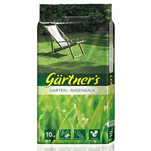 Gärtner's Rasenkalk 10 kg I Rasen kalken zur Rasenpflege I Kalk als Rasendünger für Sport & Spielrasen + Schattenrasen + Regenerationsrasen I Kohlensaurer Kalk 95 für 100 m² Garten kalken