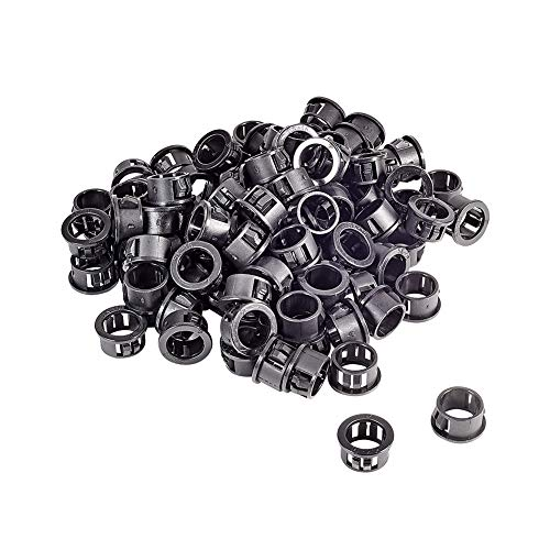 Fielect Cable Hose Snap Bushing Grommet Protector 100Pcs SK-16 16mm Mounted Dia Locking Bushing Protective Grommet Black