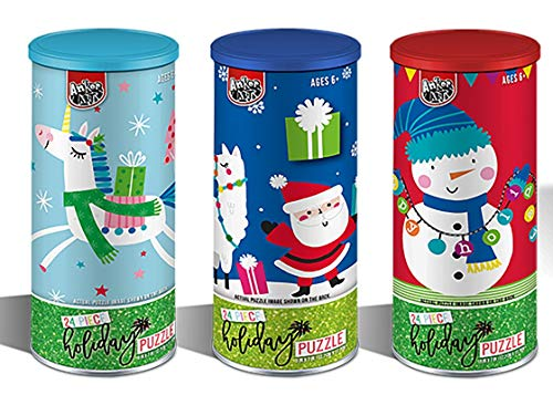Christmas Jigsaw Puzzle (Set of 3, 24 Pieces Each) For Children or Kids Gift Stocking Stuffer