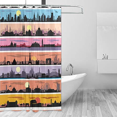 FANTAZIO Duschvorhang Berühmte Stadt Silhouette Polyester Badvorhang mit dicken C-förmigen Haken für Badezimmer, wasserdicht, langlebig & superwasserdicht, 152,4 x 182,9 cm