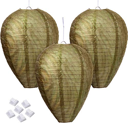 3 Pieces Hanging Wasp Repellent Fake Wasp Nest Wasp Nest Decoy Hanging Effective Deterrent Bee Hornets Fake Nest with 6 Pieces Adhesive Hooks for Home Garden Outdoors Supplies (Earthy Yellow)