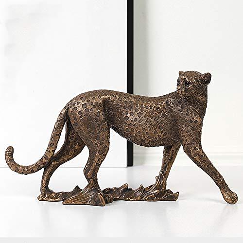KKJJ Panther Statue Skulptur Ornamente, Harz Kunsthandwerk Vintage Leopard Puma Skulptur Jaguar Sculpture, Nordischer Stil Modern Harz Statue Tier Modell Hauptdekoration,B