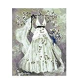 Vestido de novia abstracto adultos Diy pintura al óleo digital por números cuadro de arte de pared por número pintura de caligrafía para arte