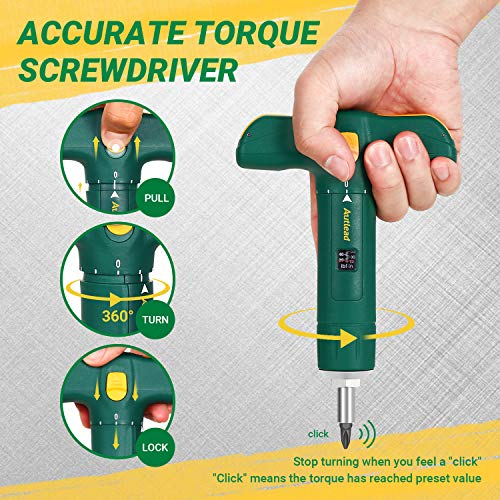 Torque Screwdriver, Adjustable T-shape Torque Wrench of Wide Range 15-75 Inch Pound in 1 Increment, 12 Pcs 1/4