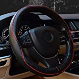 Valleycomfy 15.75 inch Auto Car Steering Wheel Covers Black with Red Lines- Genuine Leathe...