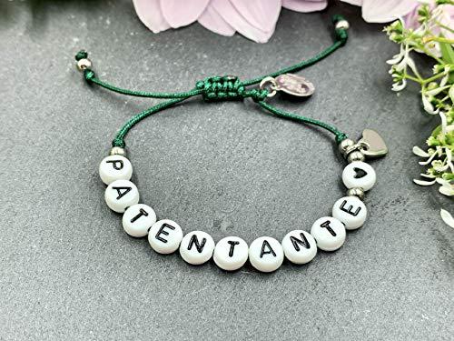 Armband Makramee Patentante dunkelgrün, Geschenk Patenschaft with love