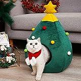 Casa para Mascotas Gato con Forma de árbol de Navidad Cama Nido para Perros Cueva para Cachorros Estera Lavable para Gatos Cálida y Suave Casa para Gatos de Invierno Suministros para Mascotas Cama