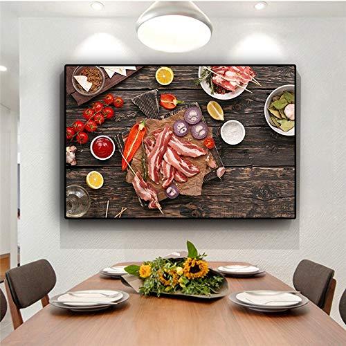 Pintura sin Marco Vegetal Cocina Suministro Comida