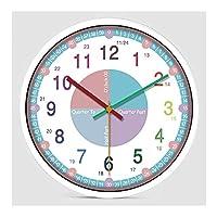 -家庭用時計 壁時計子供の教育ウォールクロックサイレントムーブメントタイム教育幼稚園早期教育のバッテリーは、14インチの非刻々と過ぎガールズベッドルームを運営しました 壁時計 (Color : B)