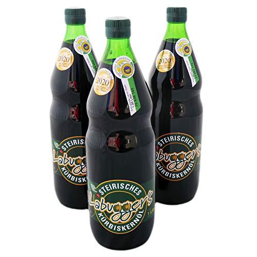 Aceite de semillas de calabaza estrictas ggA. Juego de 3 botellas de 1 litro, galardonado en el año 2020, AMA disfrute, región austriaca, aceite de ensalada controlado