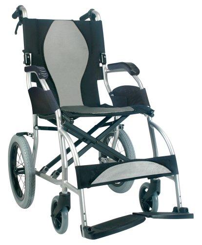 "Karman Healthcare S-2501 Ergonomic Ultra Lightweight Transport Chair, Pearl Silver, 18"" Seat Width"