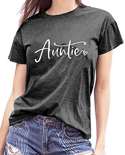 Auntie T Shirt Aunt Vibes Graphic Tees Women Letters Print Auntie Casual...