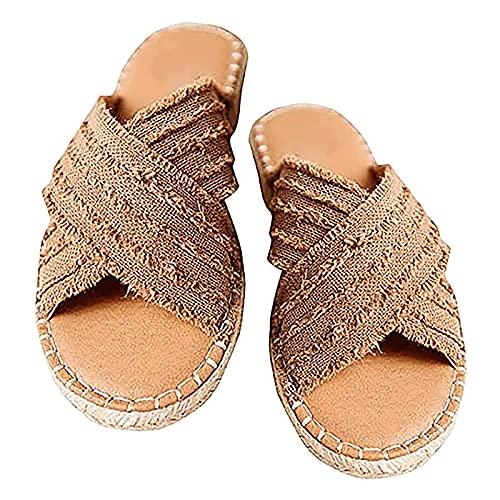 Orgrul Sandalias Mujer Verano 2021, Chanclas Mujer Verano, Planas Bohemio Brillantes Sandalias PU Piel Elástica Playa Zapatos Separador de Dedos A8A (37, E)