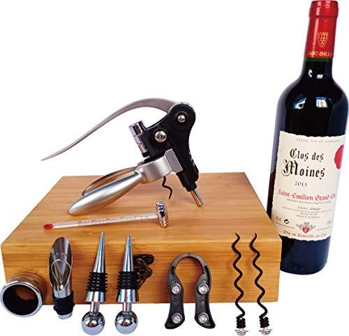 Les Plaisirs Du Chef - Coffret en Bois Bamboo (Cadeau Accessoires vin avec Tire Bouchon à Levier & aérateur) - 9 pièces