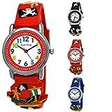 Pure Time® Kinder Uhr Jungenuhr Mädchenuhr Silikon Kautschuk Schul Uhr Jungen Mädchen Armbanduhr Uhr mit 3D Piraten Totenkopf Sport Lern-Uhr Schul-Uhr Blau Grün Türkis Schwarz Rot (Piraten-Rot)