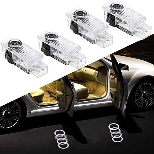 XTT AutotüR Led Logo Projektor Türbeleuchtung Willkommen Einstiegsbeleuchtung, Autotür Laser Projektor Lampe Styling Zubehör für A1 A3 A4 A5 A6 A7 A8 R8 TT Q7 Q5 Q3 (4 Stück) Audi