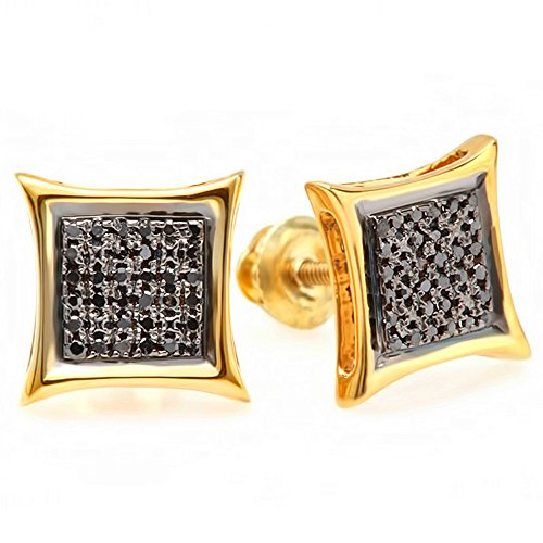 Dazzlingrock Collection 0.38 Carat (ctw) Black Round Diamond Micro Pave Setting Kite Shape Stud Earrings, Sterling Silver